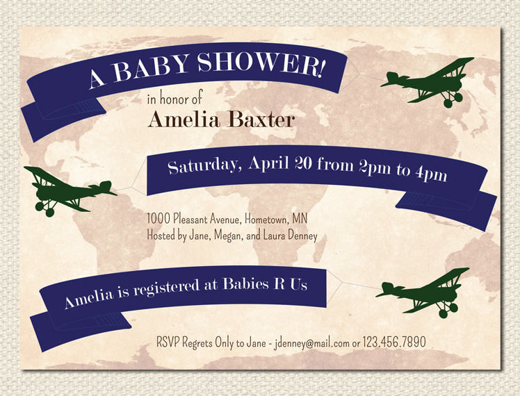 Airplane Invitations with awesome invitation sample