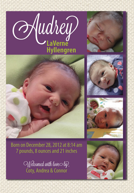Purple Photo Collage Birth Announcement