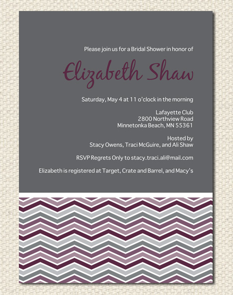 Plum Chevron Bridal Shower Invitation