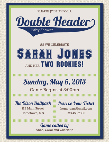 Double Header Baby Shower Invites
